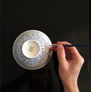 porcelaine de Limoges, bleu, points bleus