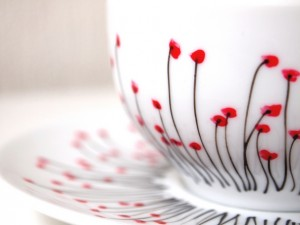 petite tasse a the pavot detail motif