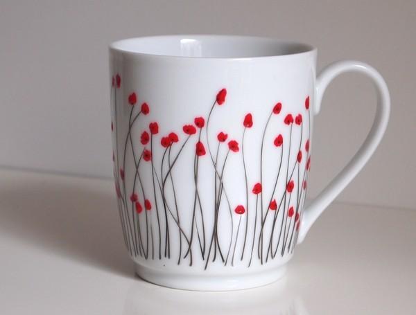 tasse à thé, mug de café, fleurs de coquelicot, motif de fleurs