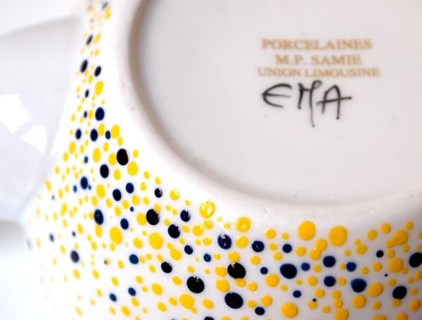 Theiere elevation bleu nuit et jaune Estelle Mademoiselle Atelier EMA signature